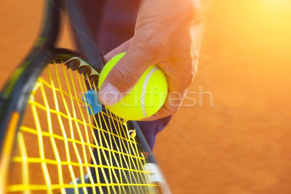 Teniszlabda teniszpálya sport tenisz labda citromsárga Stock fotó © mikdam