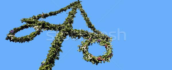 Maypole decorated with Swedish flag Stock photo © mikdam