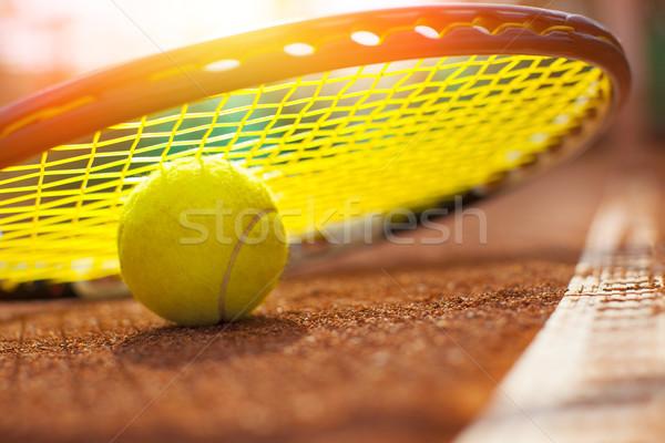 Balle de tennis court de tennis sport tennis balle jaune Photo stock © mikdam