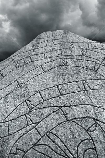 Ancient Nordic Runestone Stock photo © mikdam