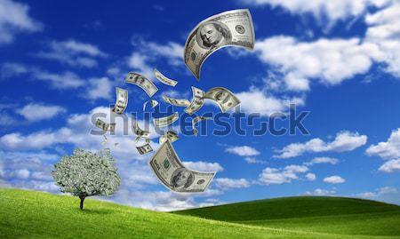 Vallen geld 100 hemel groep Stockfoto © mikdam