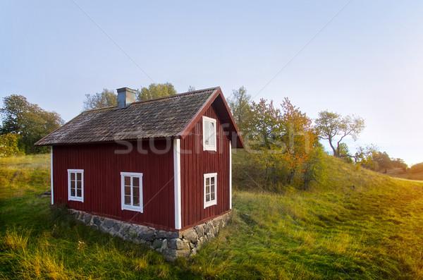 Velho casa Suécia paisagem campo Foto stock © mikdam