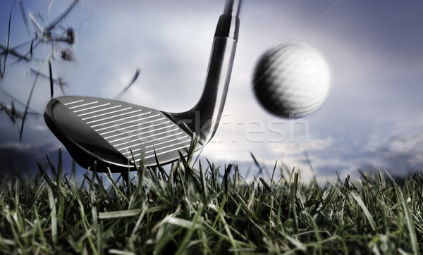 Golf club balle herbe sport Photo stock © mikdam