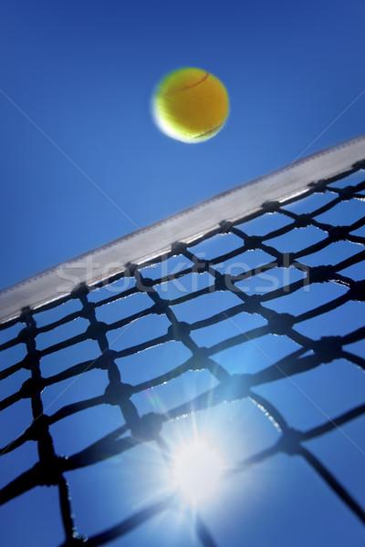 Tennisbal net hemel sport tennis Blauw Stockfoto © mikdam