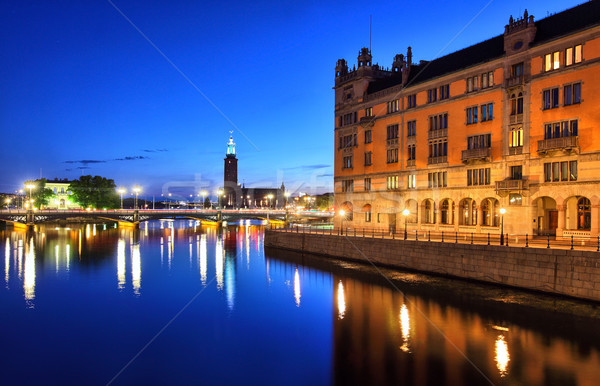 Sztokholm Cityscape miasta most noc jezioro Zdjęcia stock © mikdam
