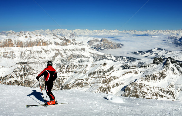 Stockfoto: Ski · resort · Italië · skiër · permanente · berg