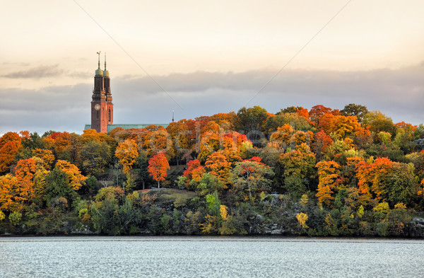 Twin towers of Hogalid Church in Stockholm Stock photo © mikdam
