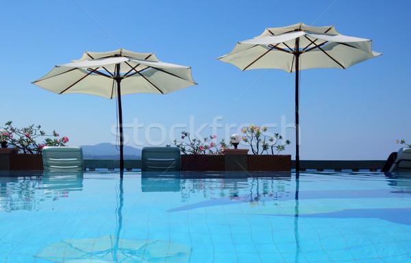 Yüzme havuzu su yaz havuz fotoğrafçılık turist Stok fotoğraf © mikdam