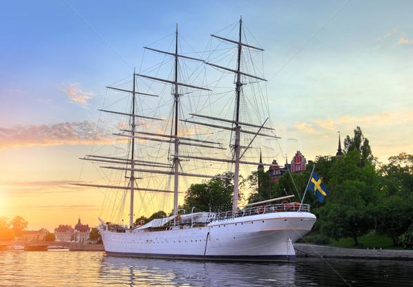 Nave Stoccolma Svezia luce estate barca Foto d'archivio © mikdam