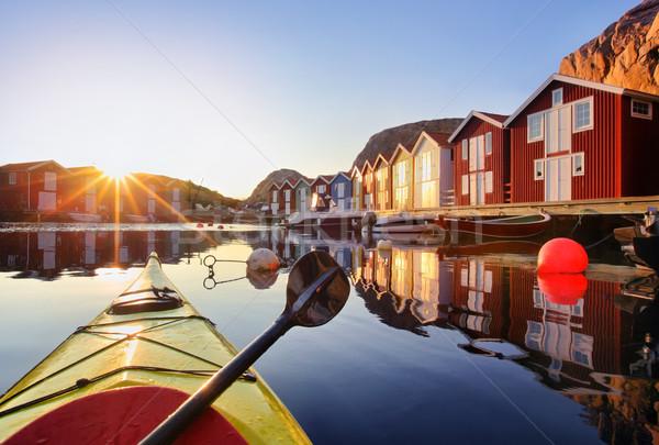 Svédország Skandinávia fából készült halászat falu víz Stock fotó © mikdam