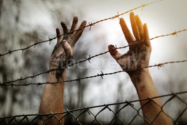 беженец мужчин забор стены крест металл Сток-фото © mikdam