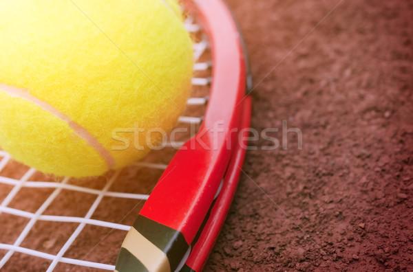Tennisbal tennisbaan sport sport bal close-up Stockfoto © mikdam