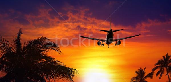 Airplane at sunset Stock photo © mikdam