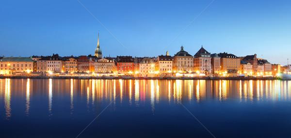 Stockholm şehir güzellik kentsel gece renk Stok fotoğraf © mikdam