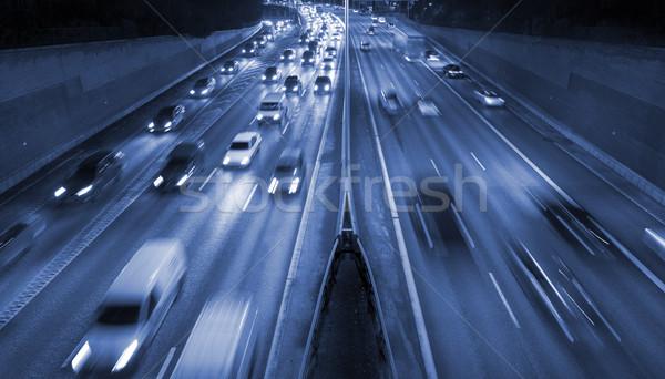 Ruchu autostrady oświetlenie Sztokholm transport wieczór Zdjęcia stock © mikdam