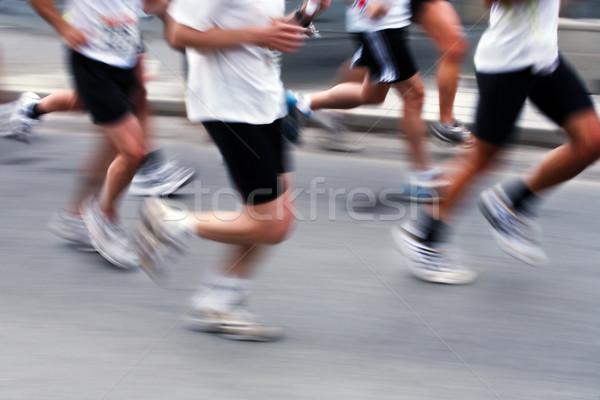 Maraton futók bemozdult Stock fotó © mikdam