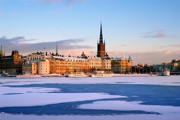 зима Стокгольм снега воды закат льда Сток-фото © mikdam