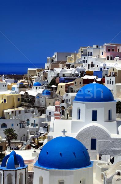 Santorini kereszt templom kék utazás építészet Stock fotó © mikdam