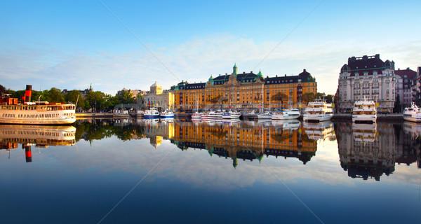 Sztokholm miasta piękna miejskich łodzi statku Zdjęcia stock © mikdam