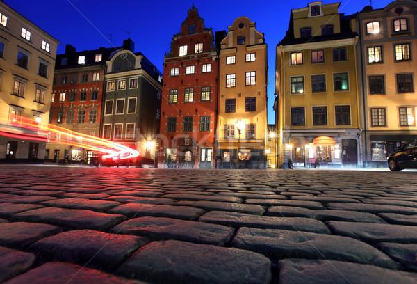 Stockholm ev şehir sokak restoran mavi Stok fotoğraf © mikdam
