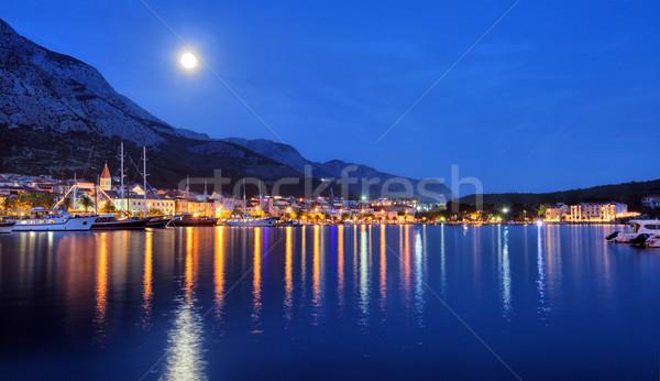Croácia mar noite barco montanhas garfo Foto stock © mikdam