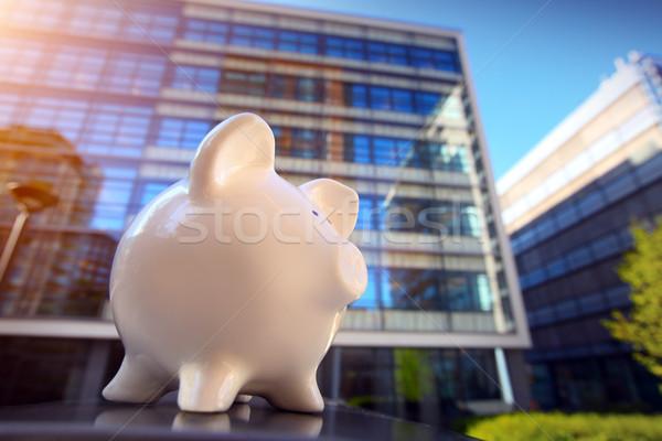 Persely pénzügyi negyed üzlet város persely bankügylet Stock fotó © mikdam