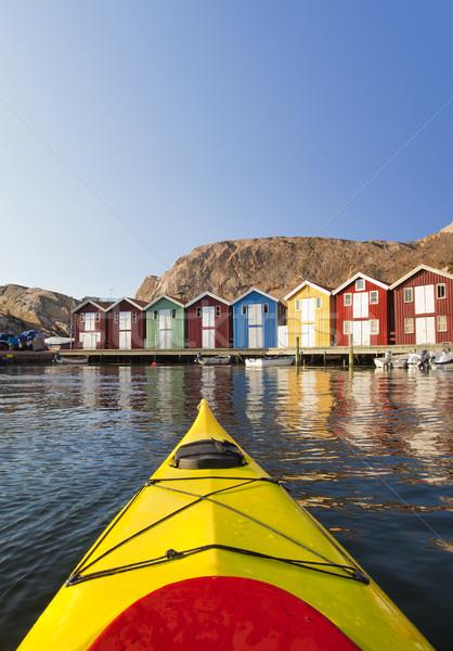 İsveç İskandinavya su gün batımı deniz tekne Stok fotoğraf © mikdam
