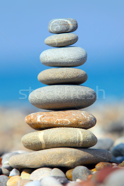 Stones over blue sky and sea Stock photo © mikdam