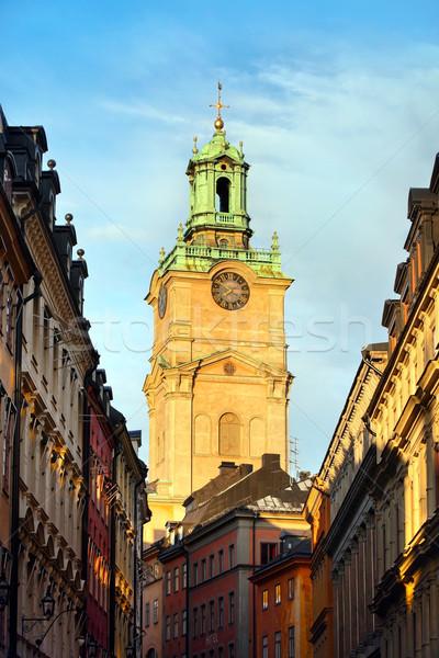 Dzwon wieża Sztokholm Szwecja miasta ściany Zdjęcia stock © mikdam