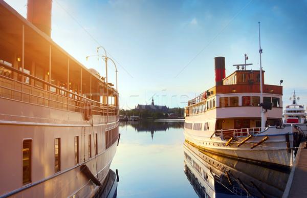 Stockholm şehir güzellik kentsel tekne gemi Stok fotoğraf © mikdam