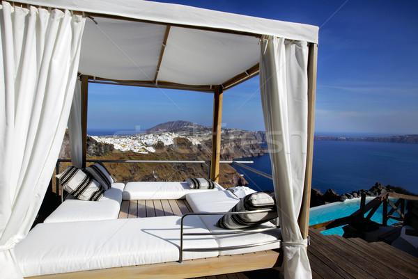 Santorini természet nyár kék úszik sziget Stock fotó © mikdam