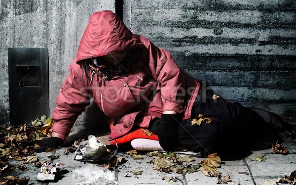 żal kobieta cegły budynku kobiet płacz Zdjęcia stock © mikdam