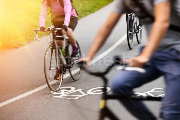 Bicikli sáv természet utca festék bicikli Stock fotó © mikdam