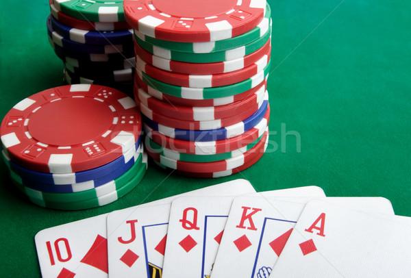 Foto d'archivio: Carte · da · gioco · gioco · d'azzardo · chip · verde · suit · mercato