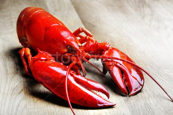 赤 ロブスター 木材 食品 ストックフォト © mikdam