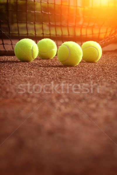 Balle de tennis court de tennis fitness sport balle jaune Photo stock © mikdam