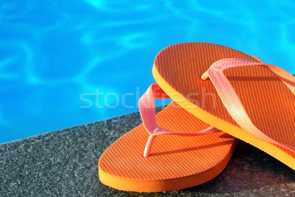 Szandál medence víz narancs cipő hideg Stock fotó © mikdam