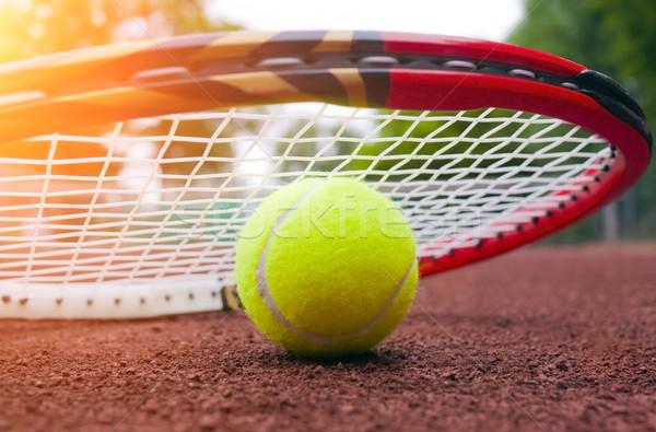 Bola de tênis quadra de tênis esportes esportes bola close-up Foto stock © mikdam