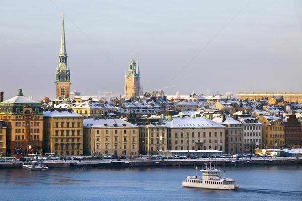 Stockholm şehir kış su tekne ışıklar Stok fotoğraf © mikdam
