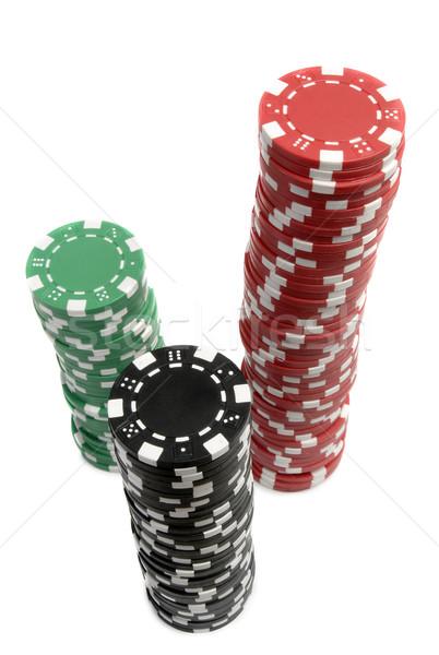 Boglya színes kaszinó zsetonok kaszinó póker fehér Stock fotó © mikdam