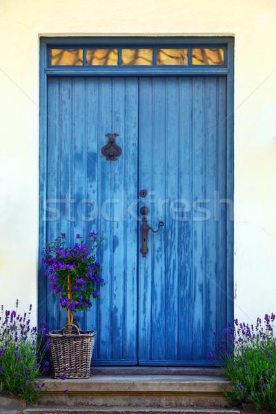 Blauw deur Zweden huis stedelijke slot Stockfoto © mikdam