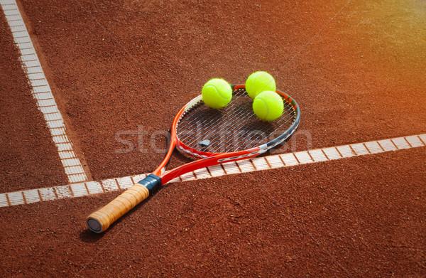 теннисный мяч теннисный корт спорт спортивных теннис крупным планом Сток-фото © mikdam
