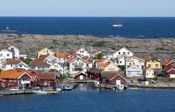 Kulübe İsveç İskandinavya su tekne kabin Stok fotoğraf © mikdam