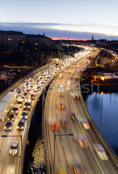 Ruchu autostrady Sztokholm samochodu oświetlenie ruchu Zdjęcia stock © mikdam
