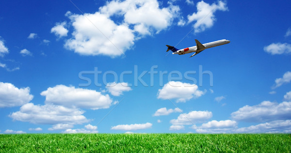 Airplane over grassy field Stock photo © mikdam