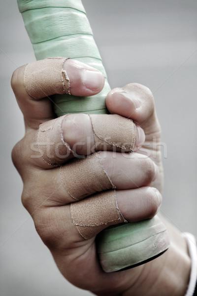 Bandagem meninos dedo raquete de tênis esportes Foto stock © mikdam