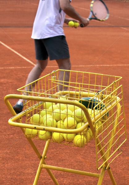 Tennis coach sport hommes amusement balle Photo stock © mikdam
