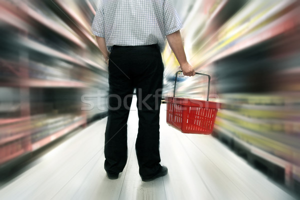 Alimentaire Shopping homme hommes magasin client Photo stock © mikdam