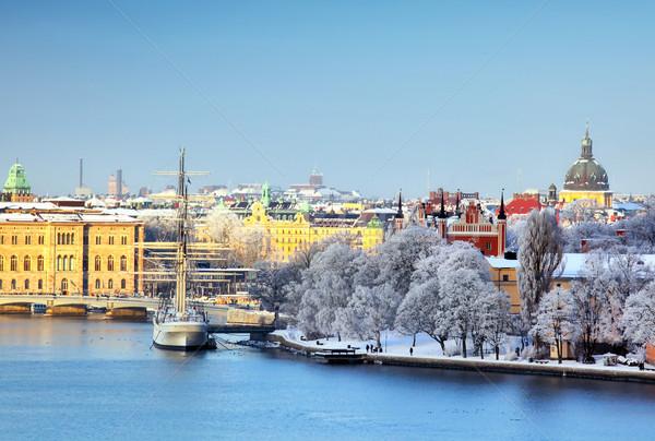 Sztokholm miasta Szwecja zimą śniegu miejskich Zdjęcia stock © mikdam
