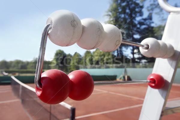Rood tennisbaan net zomer ruimte witte Stockfoto © mikdam